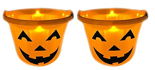 Shawshank INC Flashing Pumpkin Halloween Bucket Trick Or Treat Light Up Kids Pail, Set of 2 ()