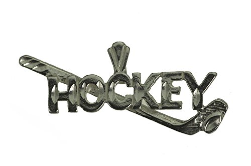 Diamond Hockey Player Charm - Hockey Stick Puck Pendant Player Charm Sterling Silver 925 Jewelry New Sports