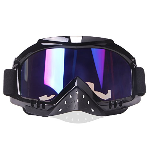 Motocross Goggles, Motorcycle Goggles Grip For Helmet, Dmeixs Anti UV Windproof Dustproof Anti Fog Glasses for ATV Off Road Racing with Cool Look Headwear, Colorful Lens, 2 in 1