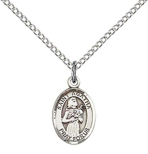 Sterling Silver St. Agatha Pendant with 18