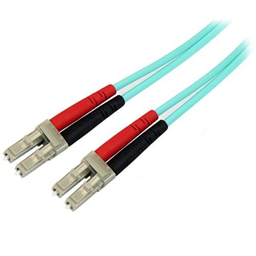 - StarTech.com Aqua OM4 Duplex Multimode Fiber - 3m/ 9 ft - 100 Gb - 50/125 - OM4 Fiber - LC to LC Fiber Patch Cable (450FBLCLC3)
