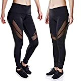 Nesee Women Pocket High Waist Sexy Skinny Leggings Patchwork Mesh Quick-drying Push Up Yoga Pants (S)