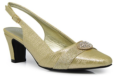 (Enzo Romeo cambria02 Women's Wide Width Sling Back Low Heeled Pointy Pumps Sandals Shoes (7.5 Wide US, Gold))