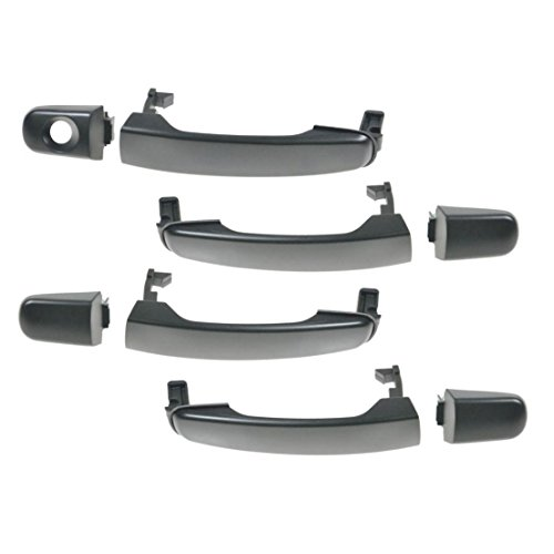 Door Handles Outside Exterior Black Kit Set of 4 for Chevy GMC Pontiac Saturn (Malibu Body Chevrolet Auto)