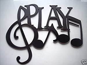 Play Word And Music Notes Metal Wall Art Decor
