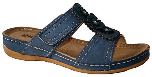 Gezer - Sandalias de vestir para mujer flor azul