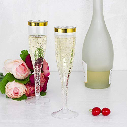 30 Premium Party Plastic Champagne Flutes - Clear Gold Rim Plastic Drink Cups, Recyclabel Unbreakable Stemware For Wedding, Toasting, Great For Mimosa, Cocktail Drinks or as Wine Cups, 5.5 Oz Cups -