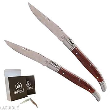 juego 2 cuchillos pequeños Laguiole 16cm, madera exótico ...