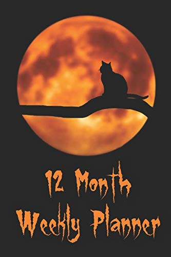12 Month Weekly Planner: 1 Year Daily/Weekly/Monthly Planner, Undated Start Anytime, Black Cat Full Moon Cover