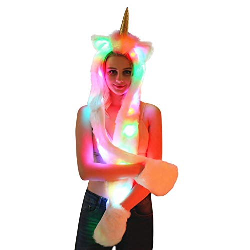 Woman RGB Led Stripe Light Up Faux Fur Hood Hat Scarf Gloves Multifunction for Halloween Christmas Party (Unicorn) -