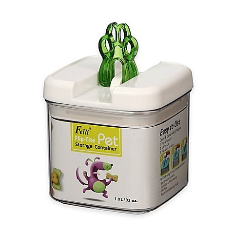 Pear Canister - Flip-Tite Paw Square Food Storage Canister in Clear/Pear