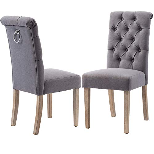 Chairus Upholstered Dining Chairs with Tufted Button - Armless Chair with Ring Pull and Rustic Wood Legs, Gray, Set of 2, for Dining Room/Kitchen/Living Room/Bedroom