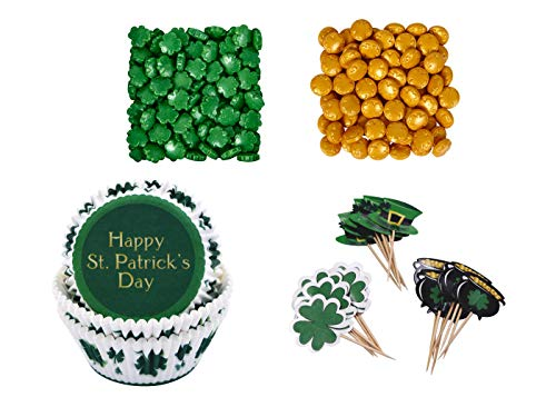 (Happy St. Patrick's Day 75 Piece Cupcake Baking Cups 48 Topper Picks & 2.1 oz of Gold & Green Novelty Sprinkles Holiday Cupcake Baking Decorating)