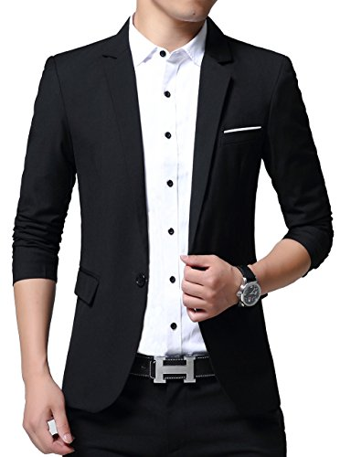 Men's Slim Fit Casual One Button Patch Pocket Blazers Jackets (Small, ()