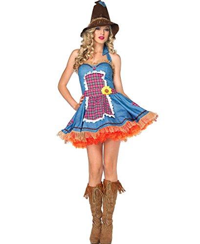 [Leg Avenue Women's Sunflower Scarecrow Costume, Blue/Multi, Medium/Large] (Scarecrow Adult Plus Costumes)