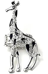 Adorable Large Silver Tone Black Spotted Clear Crystal Giraffe Ring - Adjustable Stretch Band