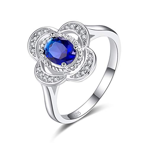 - Veunora 925 Sterling Silver Plated Lab-Created Sapphire Quartz Flower Promise Proposal Engagement Wedding Rings for Women Girl Size 9