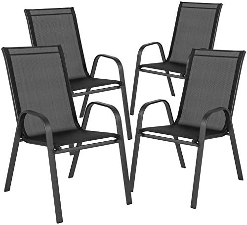 Flash Furniture 4 Pack Brazos Series Black Outdoor Stack Chair with Flex Comfort Material and Metal Frame