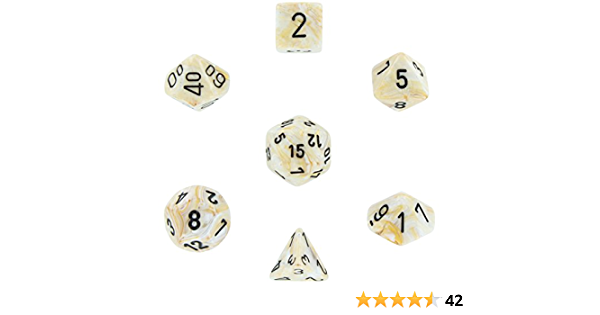 Chessex Marble Ivory w//Black Set of 36 d6 Dice CHX27802 New TD2 Chessex