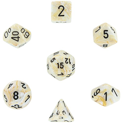 Chessex Dice: Polyhedral 7-Die Marble Dice Set - Ivory with Black by Chessex Dice