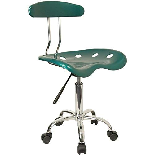 Flash Furniture Vibrant Green and Chrome Swivel Task Office Chair with Tractor Seat, from Flash Furniture