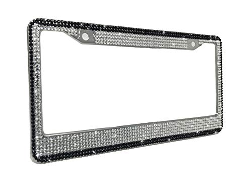 Bling Car Décor Bling License Plate Frame, Black & Clear Premium Facet Glass Crystal Rhinestone Chrome Metal Frame, Includes Matching Bonus Screw Cap Covers, Bling Car Accessory