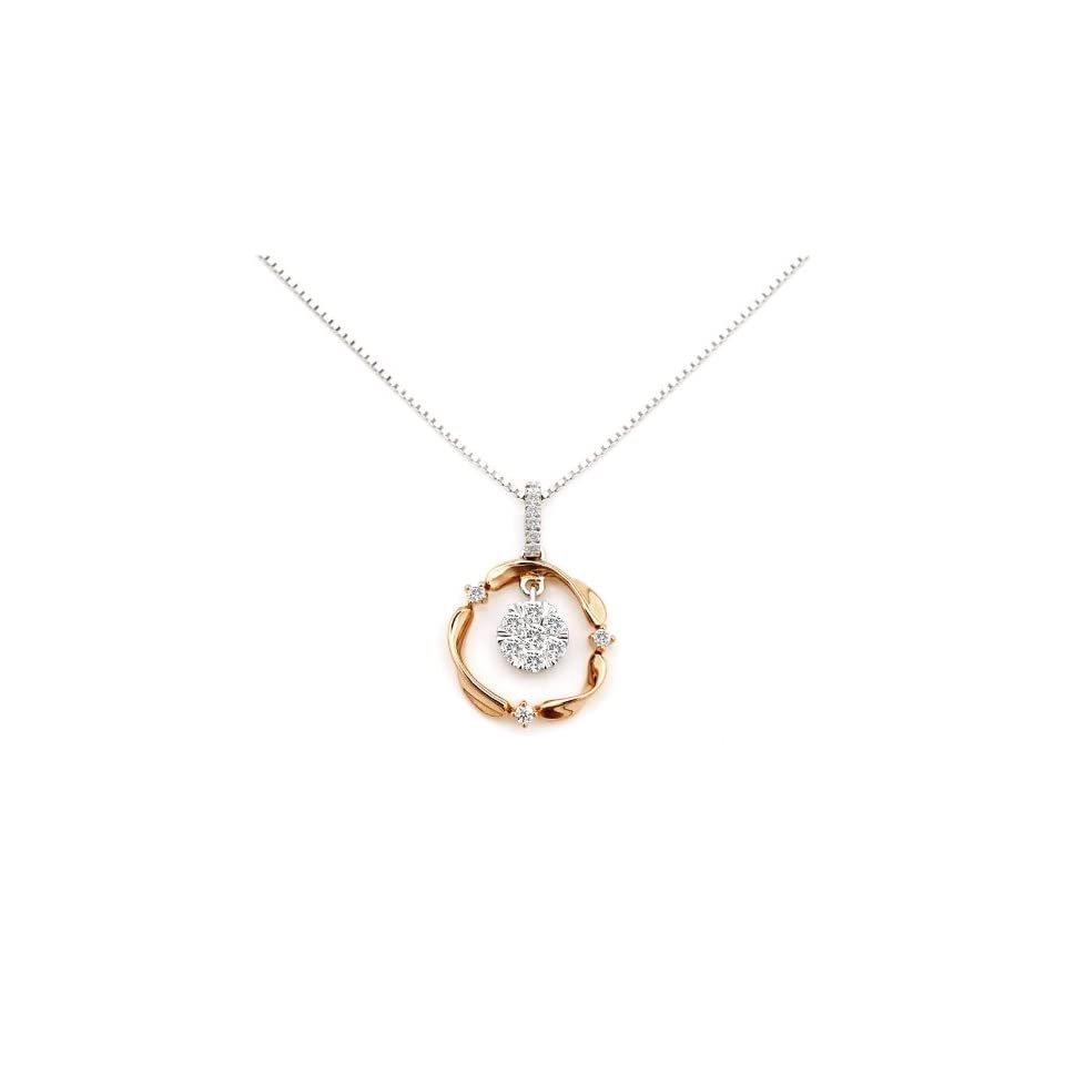 18K Rose And White Gold Two Tone Tristar Diamond Pendant With 925 Silver Chain (0.19 cttw, G H Color, VS2 SI1 Clarity, 16)