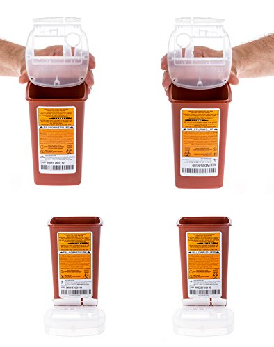 Medline Sharps Container Biohazard Needle Disposal Container - 1 Quart (Pack of 4) ()