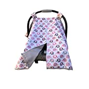 Vera Elephant 100% Breathable Cotton Baby Car Seat Cover (Petal Grey)