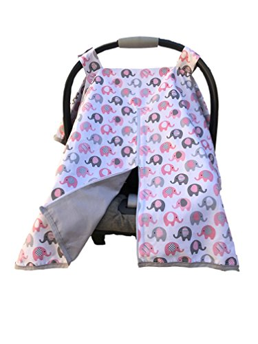 Vera Elephant 100% Breathable Cotton Baby Car Seat Cover (Petal Grey) (Best Baby Car Seat Covers)