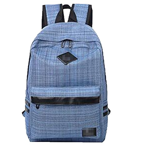 Unisex Nueva Moda Lona Escuela Mochila De Celosía Mochila Bolsa De Hombro Multicolor Blue
