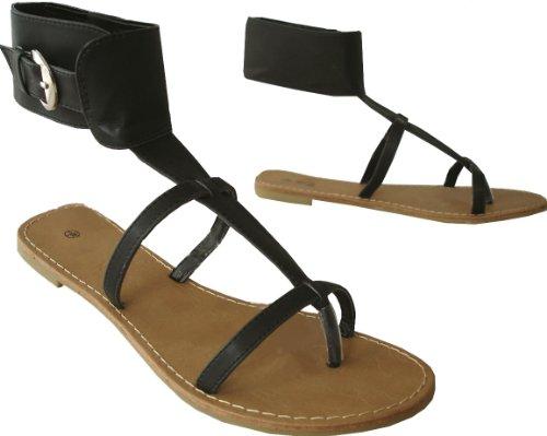 Ladies High Collar Strappy Summer Flat Sandals - Black Or White Black YJ3pt1Gpo