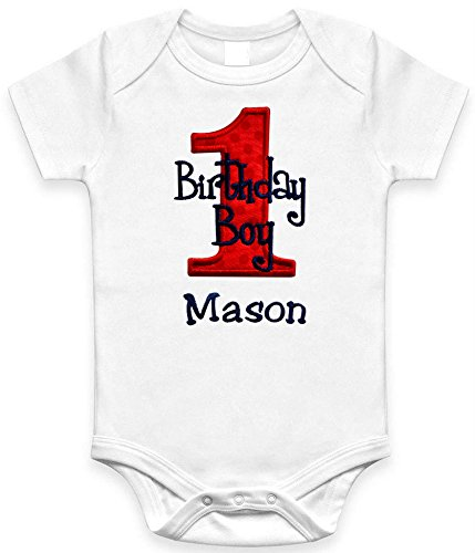 Funny Girl Designs Embroidered First Birthday Year 1 Onesie Bodysuit For Baby Boys With Your Custom Name! (Short Sleeve 18 Months Red & Navy)