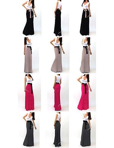 PU&PU Robe Aux femmes Trapèze Sexy / Soirée / Décontracté / Plage , Couleur Pleine / Imprimé / Mosaïque Col en U / U Profond MaxiAcrylique / , gray-m , gray-m