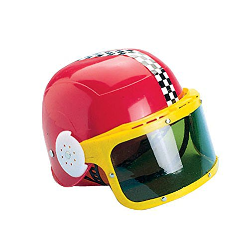 Childrens Red & Yellow Plastic Racing Stock Car Driver Costume Helmet