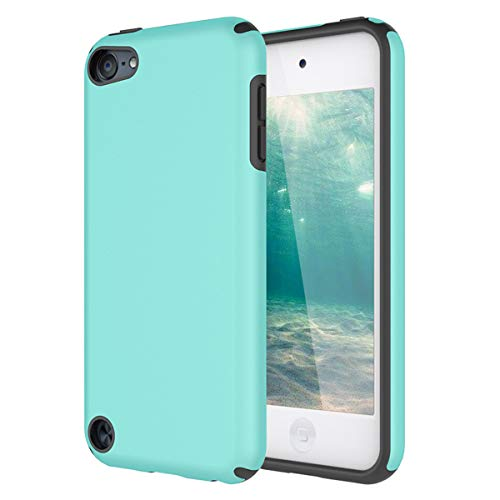iPod Touch 5 Case, iPod Touch 6 Case, KZONO Heavy Duty High Impact Armor Case Cover 2in1 Soft Shell Protective Case for Apple iPod touch 5 6th Generation -MintGreen+Grey (Ipod Touch Designer Case)