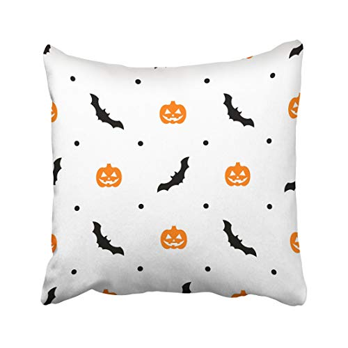 Emvency Autumn Halloween Pattern with Orange Pumpkins and Bats on White Black Cartoon Carving Celebration Creature Throw Pillow Covers 18x18 inch Decorative Cover Pillowcase Cases Case Two Side