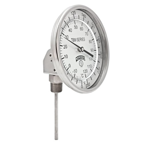 Winters TBM Series Stainless Steel 304 Dual Scale Bi-Metal Thermometer, 4'' Stem, 1/2'' NPT Adjustable Angle Connection, 5'' Dial, 0-250 F/C Range by Winters Instruments