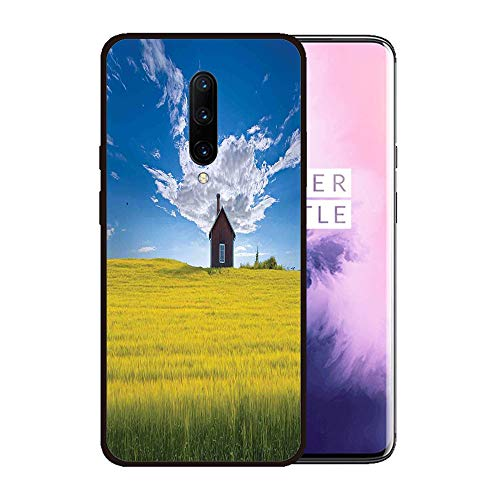 Case for OnePlus 7 pro,Silicone Cover and Tempered Glass 2 Materials,Non-Slip, Anti-Drop, Anti-Scratch,Depict- Farm House Decor,Traditional Red Scandinavian Summerhouse in Yellow Oat