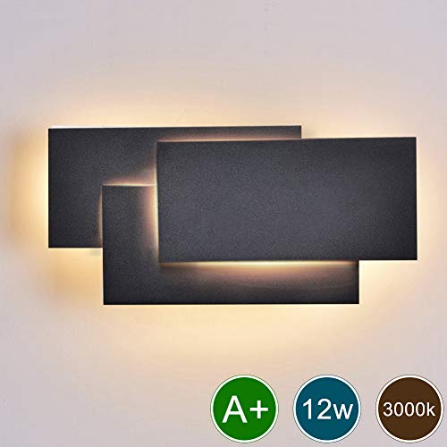 Ralbay Modern Wall Sconce LED Lighting Fixture Lamps 12W Warm White 3000K Living Room Bedroom Hallway Conservatory Not Dimmable