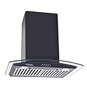 Hindware Decorative Hoods Kylis Neo 600 Air Flow:1100 M/3 hr Push Button Baffle Filter Chimney (Black)