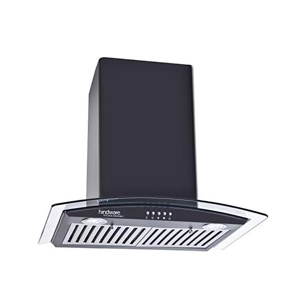 Hindware Decorative Hoods Kylis Neo 600 Air Flow:1100 M/3 hr Push Button Baffle Filter Chimney (Black)