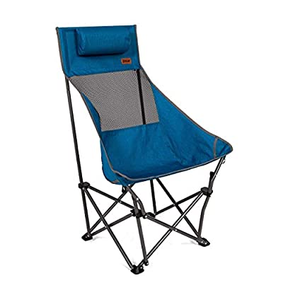 MacSports XP High-Back Folding Camping Chair   Outdoor Back/Lumbar Support, Lightweight (Weighs Under 6lbs), Heavy Duty (Supports 225lbs), for Camping Hiking Gaming Backpacking Sports Hunting   Blue: Kitchen & Dining