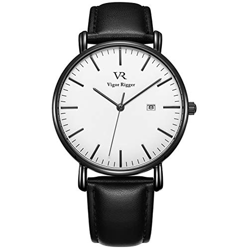 (Vigor Rigger Men's Fashion Slim Quartz Wrist Watch with Black Stainless Steel/Leather Band (White-Leather))