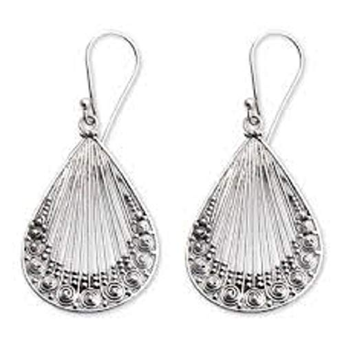 The Silver Sun Collection Komang Wijayana of Bali & Java Lacy Handcrafted .925 Sterling Silver Earrings with French Wires Hooks