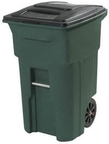 Home /& Comfort 35-Gallon Black Plastic Wheeled Trash Can with Lid