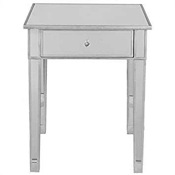 Pemberly Row Painted Silver Wood Trim Mirrored Accent Table