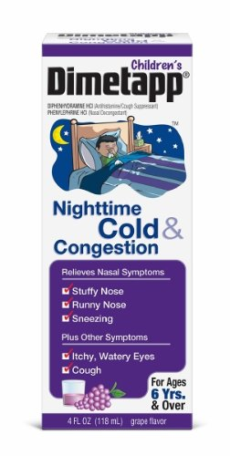 Dimetapp Nightime Cold and Cough Chest Congestion, 4-Ounce (Pack of 3)