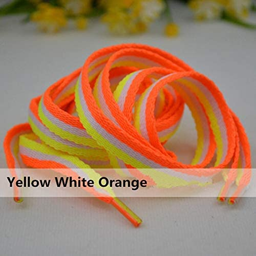 TMYQM ミックス三色の靴ひも1センチメートル幅115長ストライプ靴ひも女性男性カラフルなレザースポーツカジュアルシューズのひも (Color : Yellow White Orange)