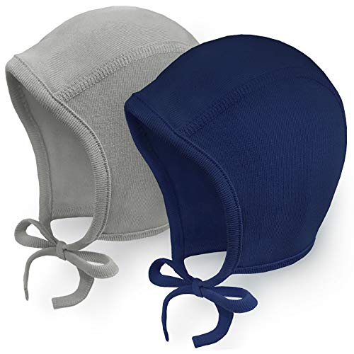 Happy Tree 2 Pack Baby Hat Bonnet Soft 100% Combed Cotton Toddler Infant Beanie Pilot Caps, Grey + Navy, Small